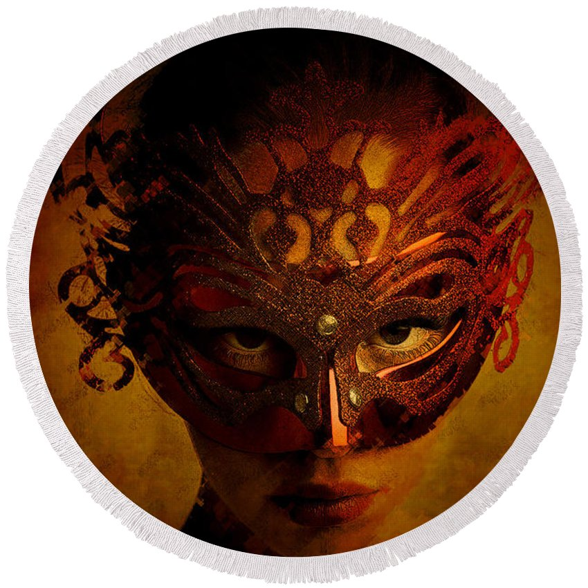 Mask Round Beach Towel featuring the digital art Bal Masque by Galen Valle