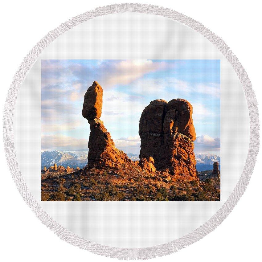 Balance Rock Round Beach Towel featuring the digital art Balance Rock by National Park Service