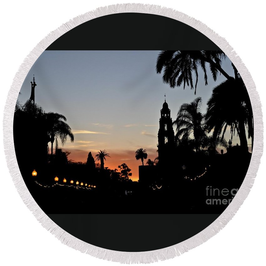 San Diego Round Beach Towel featuring the photograph Balboa At Sunset by Bridgette Gomes