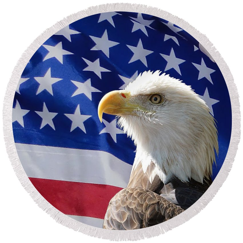 Eagle Round Beach Towel featuring the photograph Bald Eagle And American Flag by Alan Hutchins