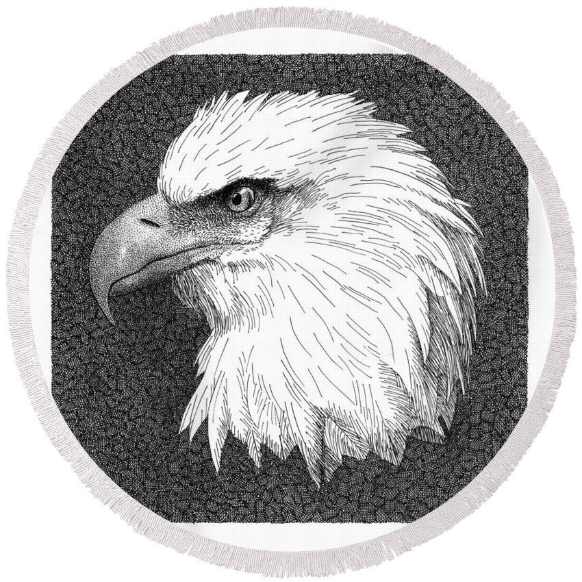 Bald Eagle Round Beach Towel featuring the drawing Bald Eagle by Scott Woyak