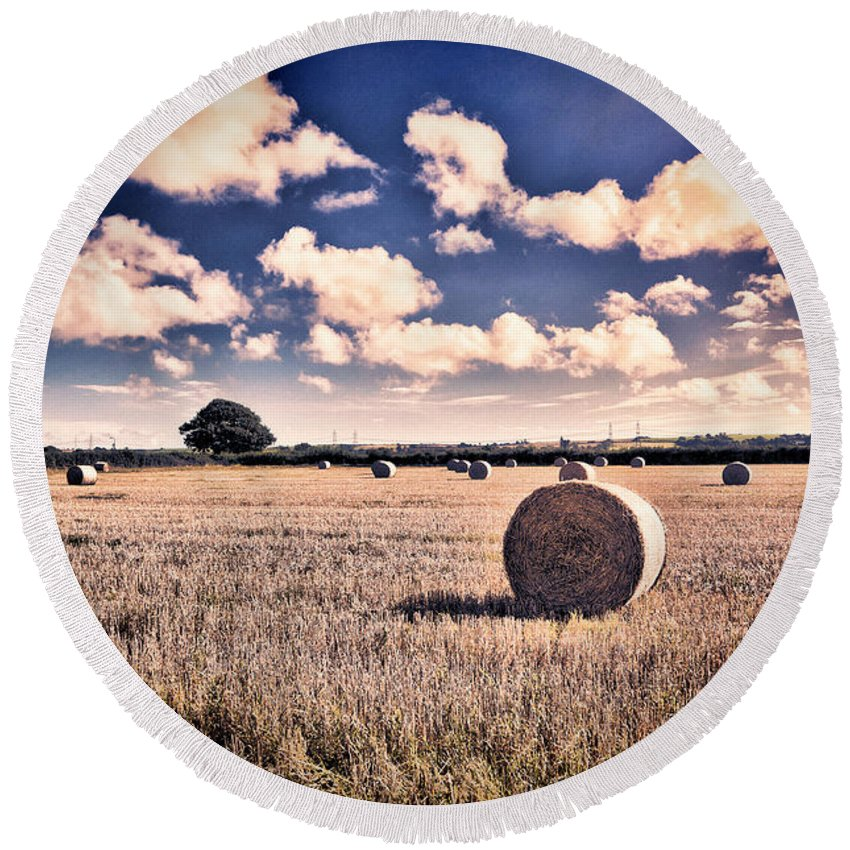 Hay Bales Round Beach Towel featuring the photograph Baled Out by Steve Purnell