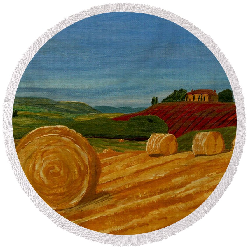 Hay Round Beach Towel featuring the painting Field Of Golden Hay by Anthony Dunphy