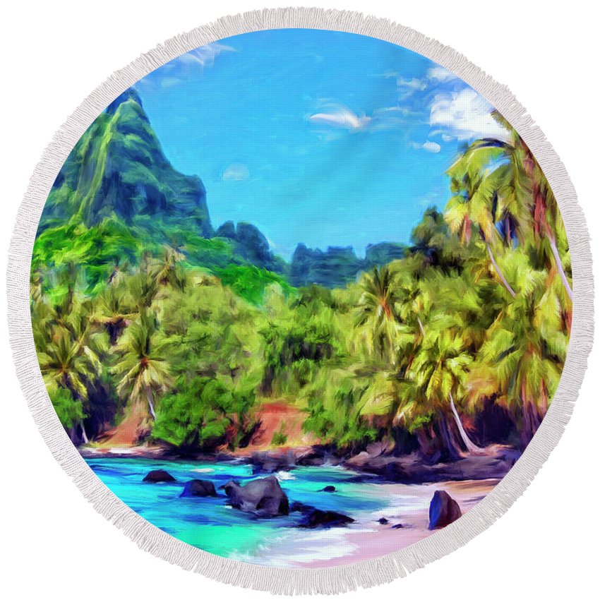 Bali Hai Round Beach Towel featuring the painting Bali Hai by Dominic Piperata