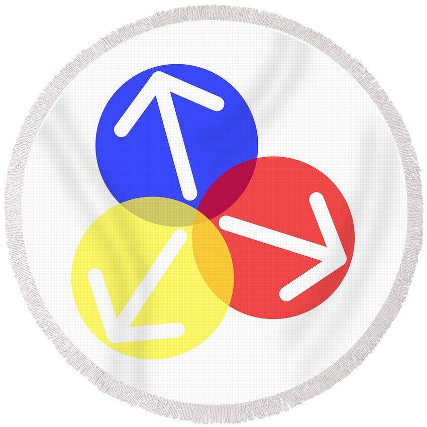 Sign Round Beach Towel featuring the digital art Ball Arrows by Henrik Lehnerer