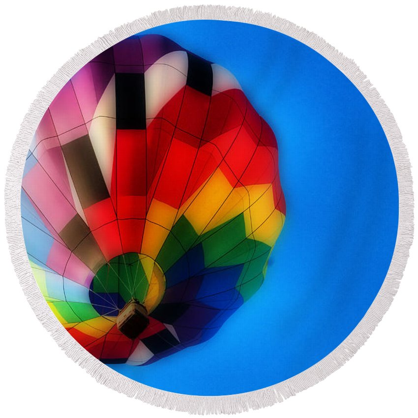 Hot Air Balloon Round Beach Towel featuring the photograph Balloon Colors by Alice Gipson