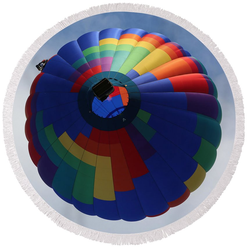 Balloon Round Beach Towel featuring the photograph Balloon Square 5 by Carol Groenen