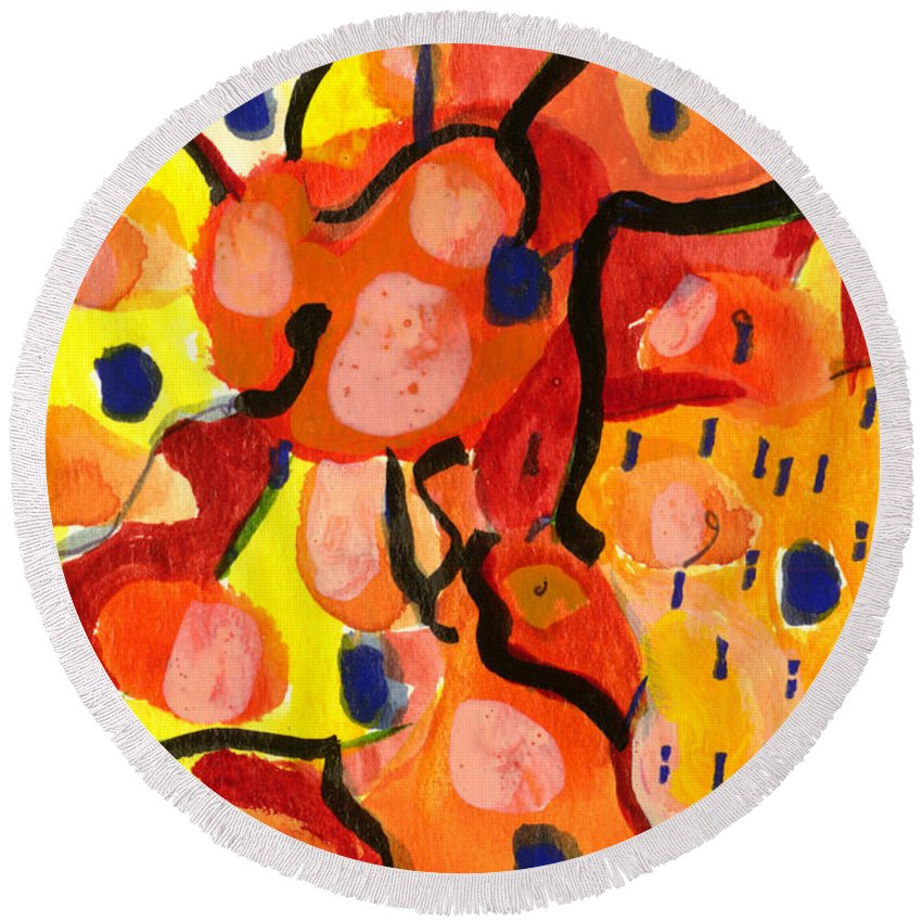 Abstract Art Round Beach Towel featuring the painting Balloons At Mid-day by Stephen Lucas