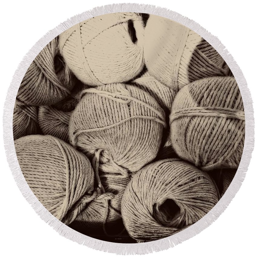 String Round Beach Towel featuring the photograph Balls Of String by Alice Gipson