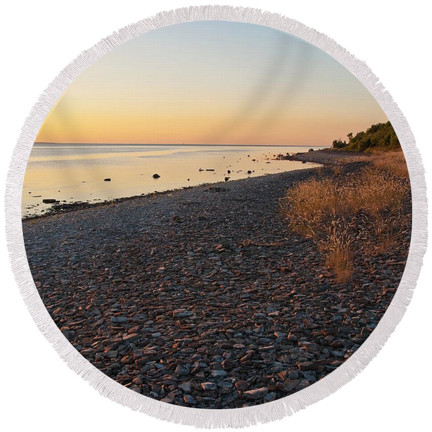 Sweden Round Beach Towel featuring the photograph Baltic Sea Coast by Kennerth and Birgitta Kullman