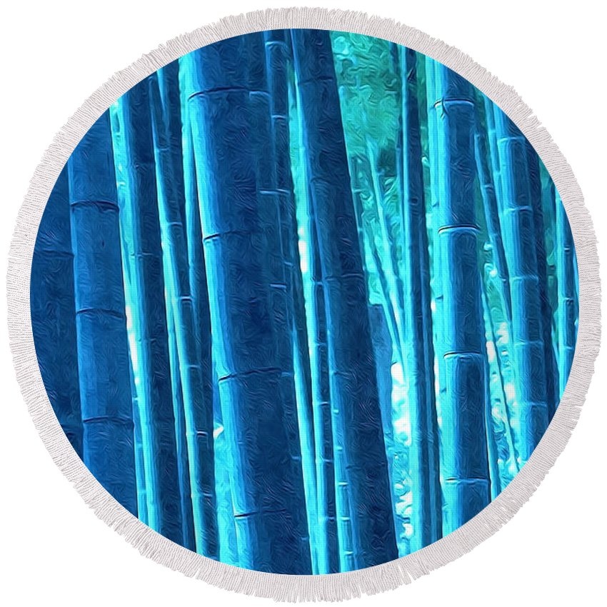Art Of Bamboo Round Beach Towel featuring the painting Bamboo 14 by Jeelan Clark