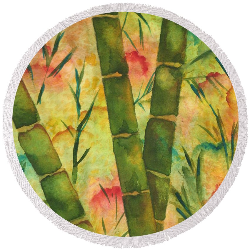 Fine Art Painting Round Beach Towel featuring the painting Bamboo Garden by Chrisann Ellis