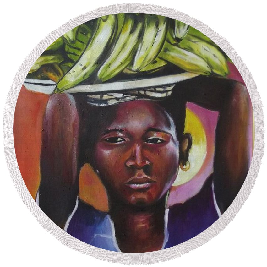 Yellow Round Beach Towel featuring the painting Banana Hawker by Olaoluwa Smith