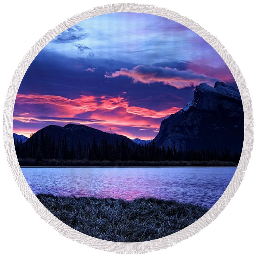 Alberta Round Beach Towel featuring the photograph Banff Sunrise by Phill Doherty
