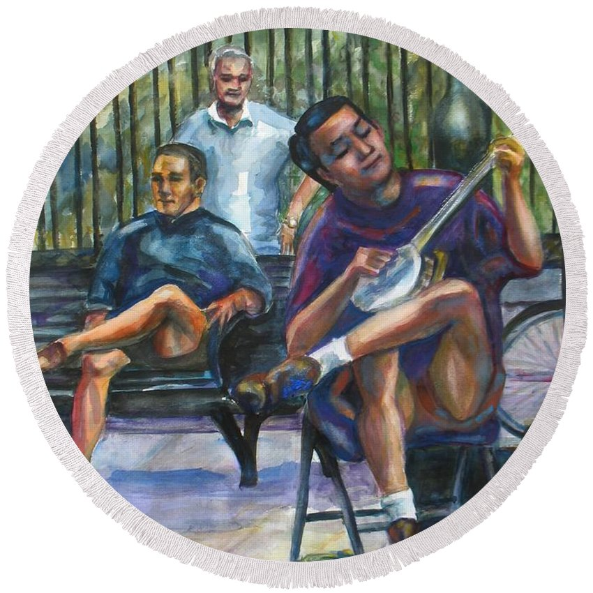 Musician Round Beach Towel featuring the painting Banjo by Beverly Boulet