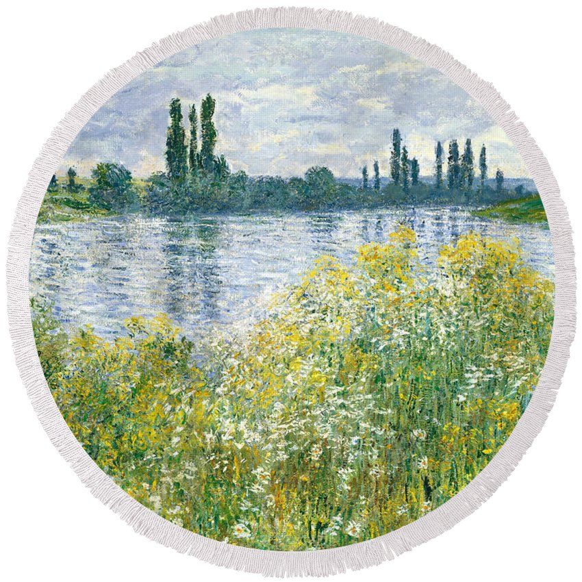 Landscape; River; Rural; Summer; Wild Flowers; Yellow; Reflection; Water; Blue Sky; Impressionist; French Round Beach Towel featuring the painting Banks Of The Seine Vetheuil by Claude Monet