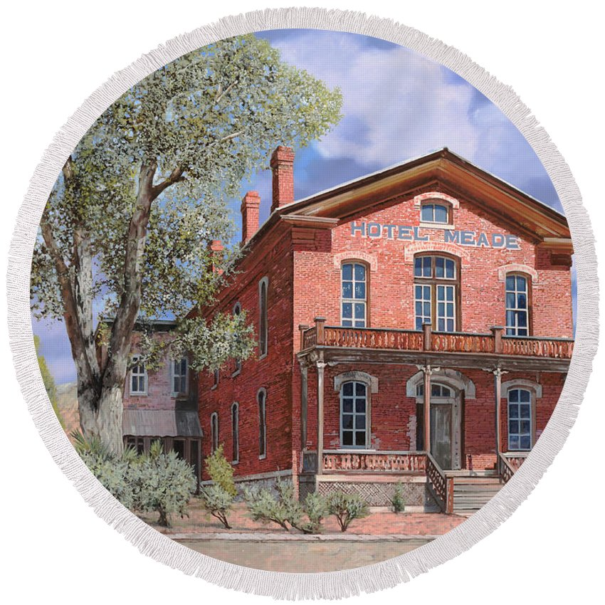 Montana Round Beach Towel featuring the painting Bannock-montana-hotel Meade by Guido Borelli