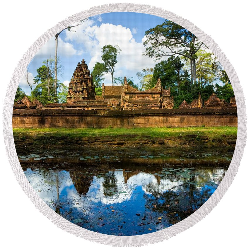 Ancient Round Beach Towel featuring the photograph Banteay Srei - Angkor Wat - Cambodia by Luciano Mortula