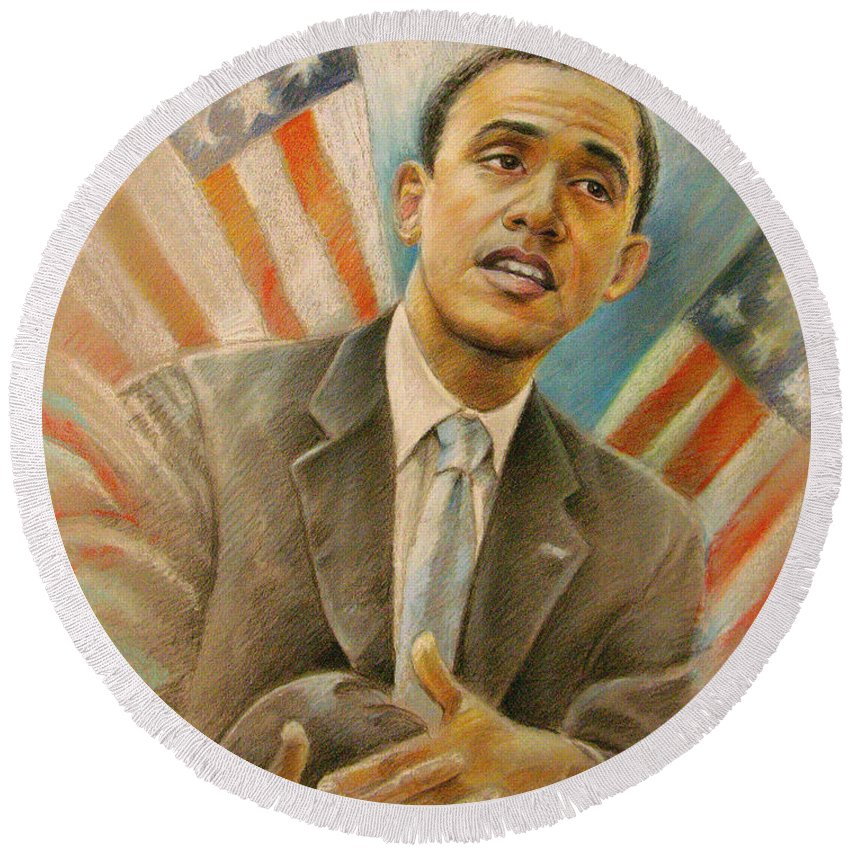 Barack Obama Portrait Round Beach Towel featuring the painting Barack Obama Taking It Easy by Miki De Goodaboom