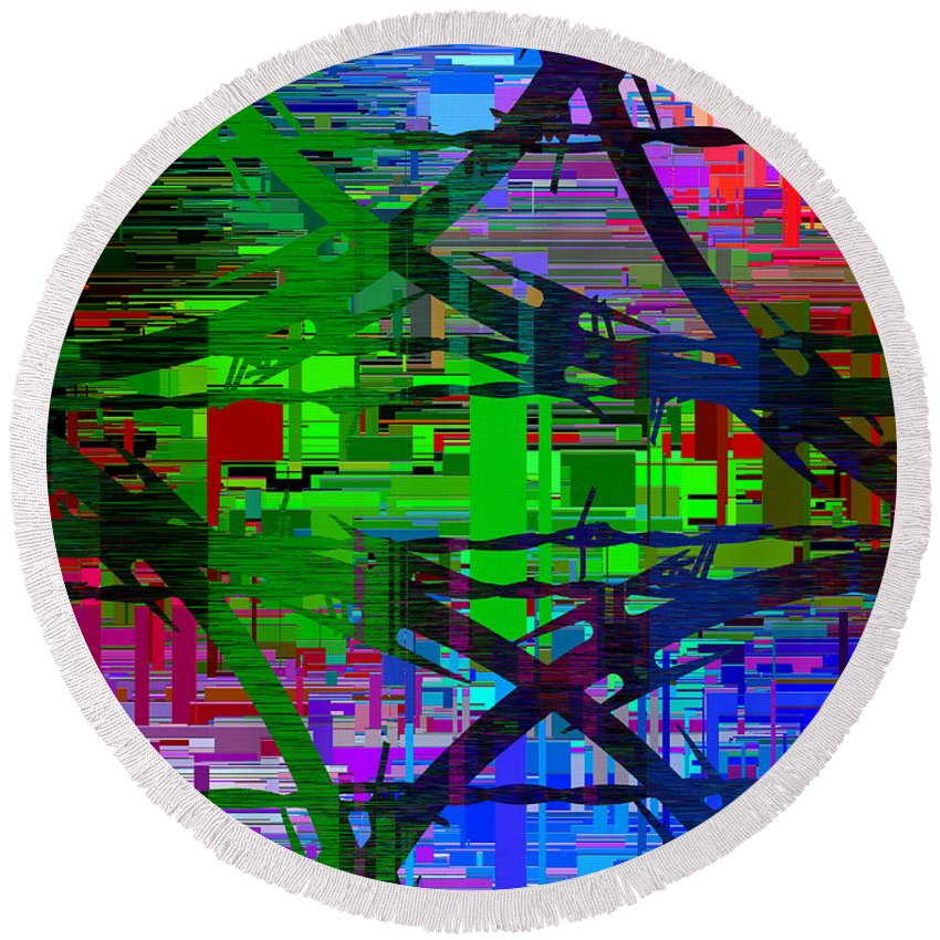Abstract Round Beach Towel featuring the digital art Barbed Wire Cubed 1 by Tim Allen