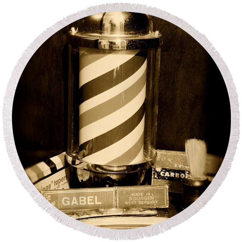 Barber - Vintage Barber Round Beach Towel featuring the photograph Barber - Barber Pole - Black And White by Paul Ward