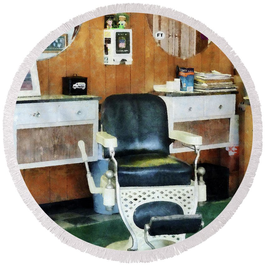 Barber Round Beach Towel featuring the photograph Barber - Barber Shop One Chair by Susan Savad
