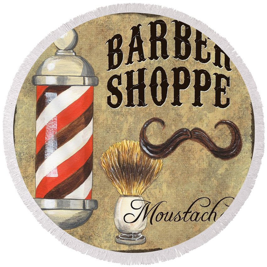 Fashion Round Beach Towel featuring the painting Barber Shoppe 1 by Debbie DeWitt