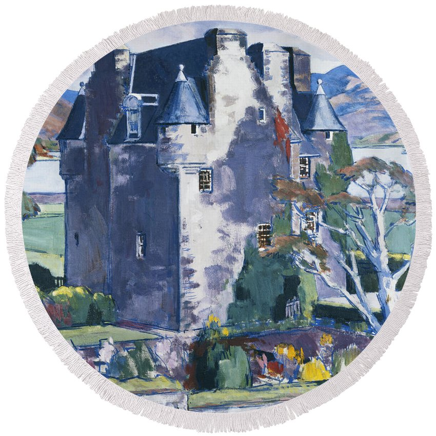 20th Century Round Beach Towel featuring the painting Barcaldine Castle by Francis Campbell Boileau Cadell