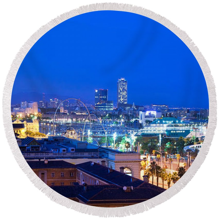 Barcelona Round Beach Towel featuring the photograph Barcelona And Its Skyline At Night by Michal Bednarek