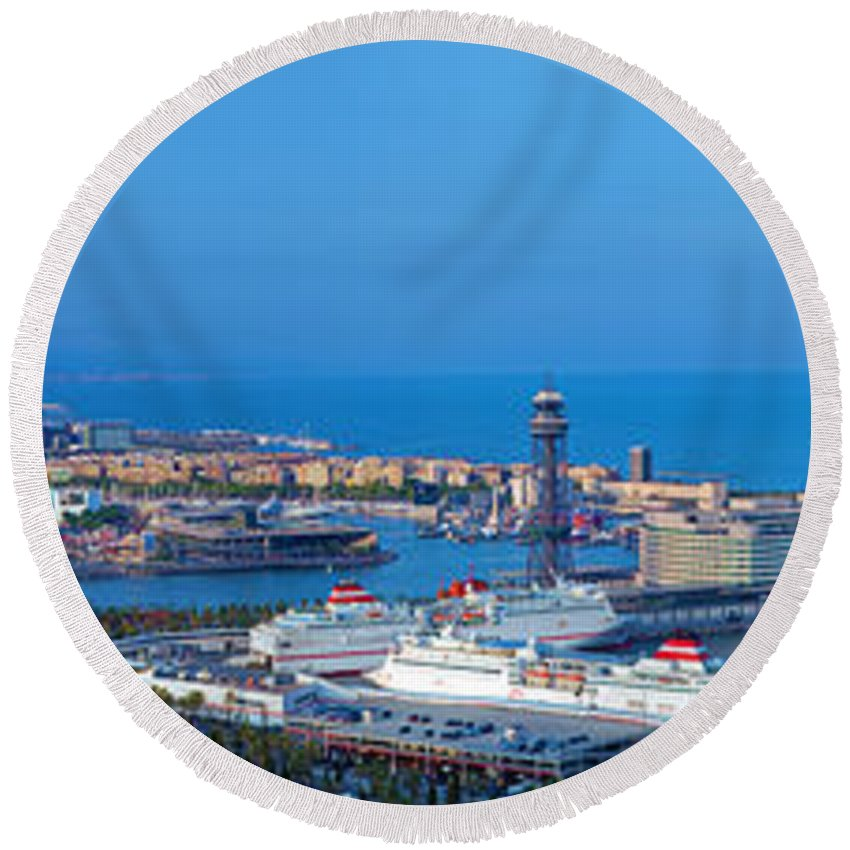 Barcelona Round Beach Towel featuring the photograph Barcelona Panorama by Michal Bednarek