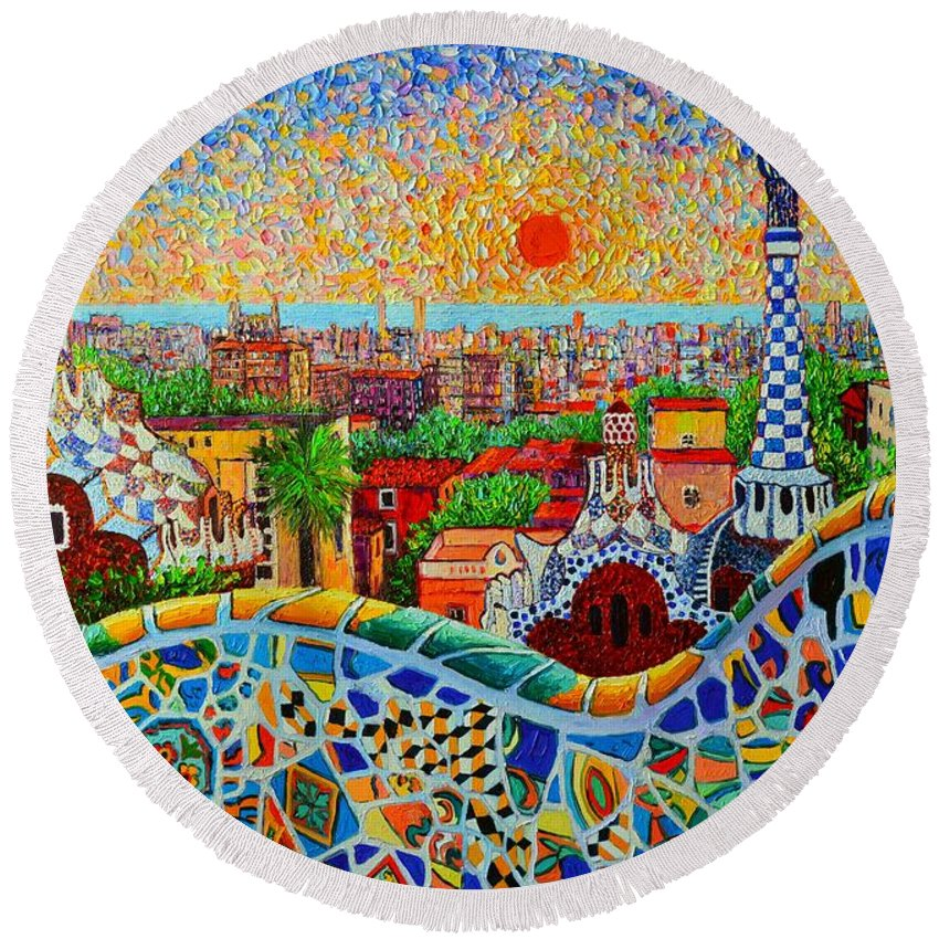 Barcelona Round Beach Towel featuring the painting Barcelona View At Sunrise - Park Guell Of Gaudi by Ana Maria Edulescu