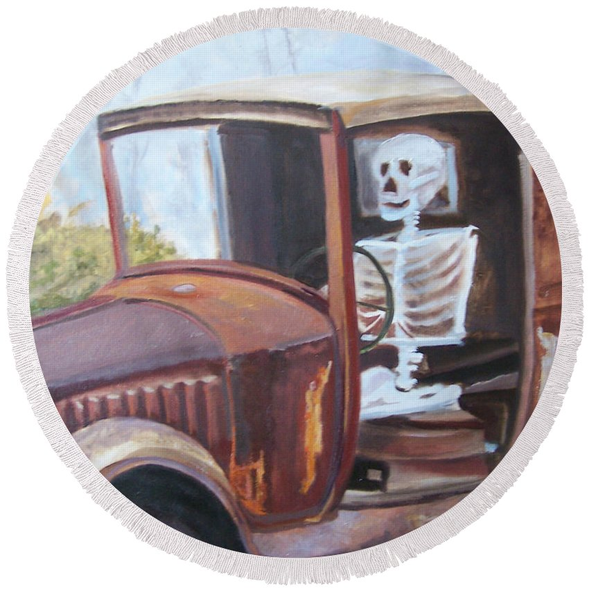 Antique Truck Round Beach Towel featuring the painting Bare Bones by Alicia Drakiotes