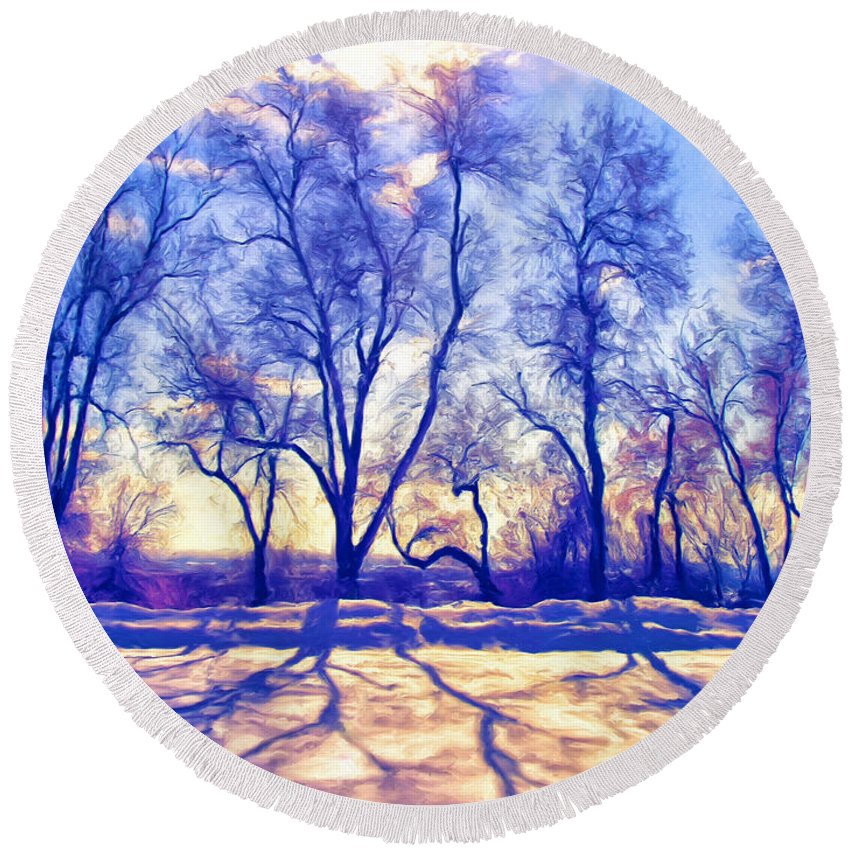 Bare Trees Round Beach Towel featuring the painting Bare Trees by Dominic Piperata
