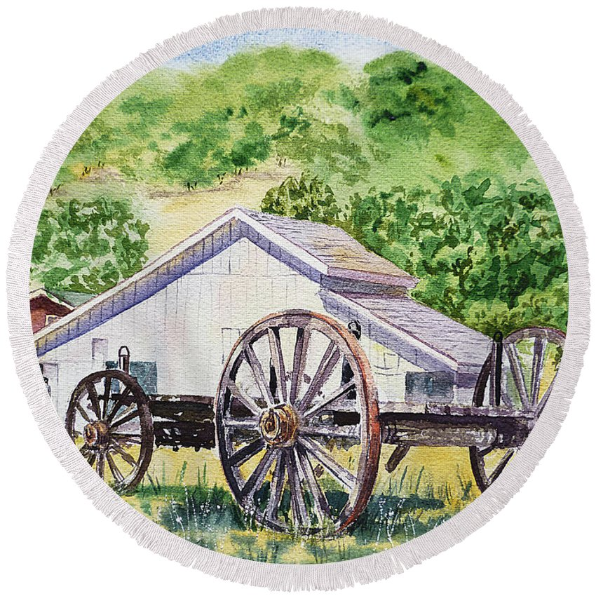 Barn Round Beach Towel featuring the painting Barn And Old Wagon At Eugene O Neill Tao House by Irina Sztukowski
