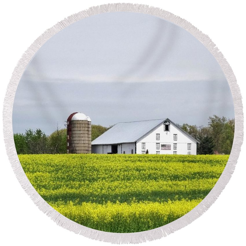 Barn Round Beach Towel featuring the photograph Barn And Silos by Scenic Sights By Tara