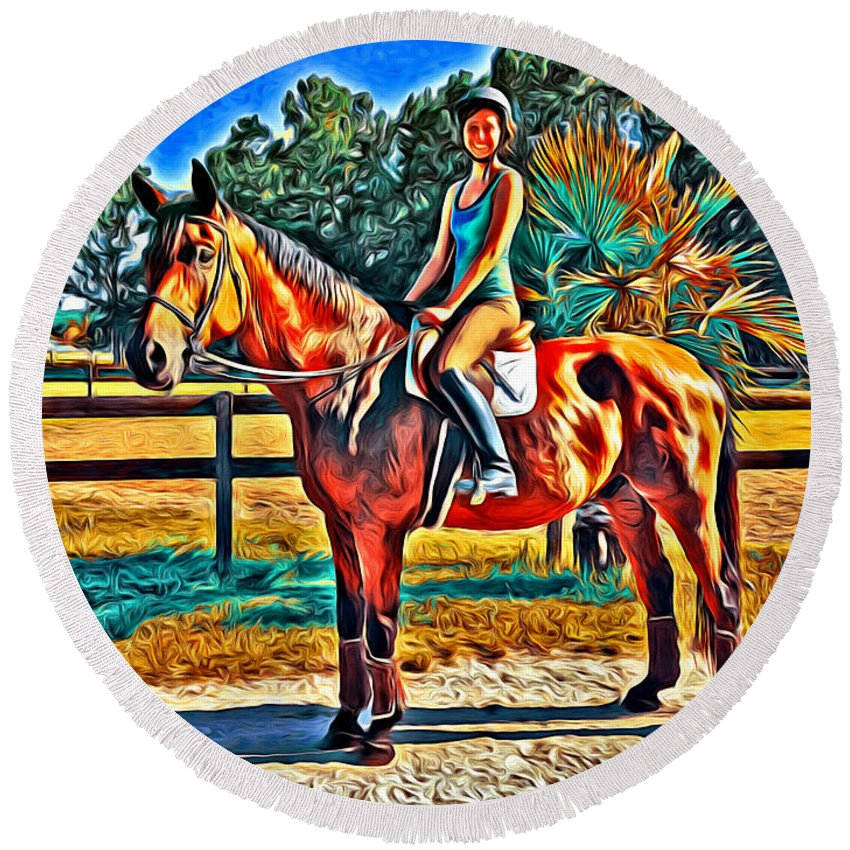 Horse Girl Barn English Alicegipsonphotographs Round Beach Towel featuring the photograph Barn Horse Two by Alice Gipson