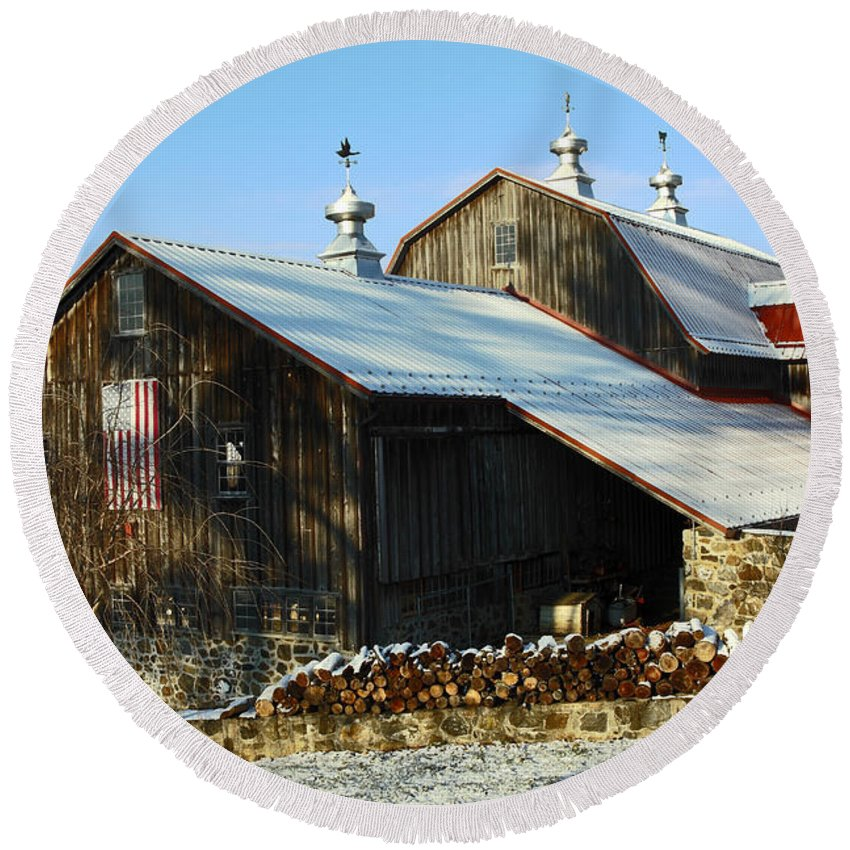 Large Brown Wood Barn Round Beach Towel featuring the photograph Barn In Snow by Sally Weigand