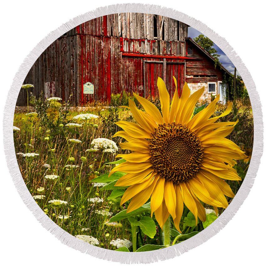Barn Round Beach Towel featuring the photograph Barn Meadow Flowers by Debra and Dave Vanderlaan
