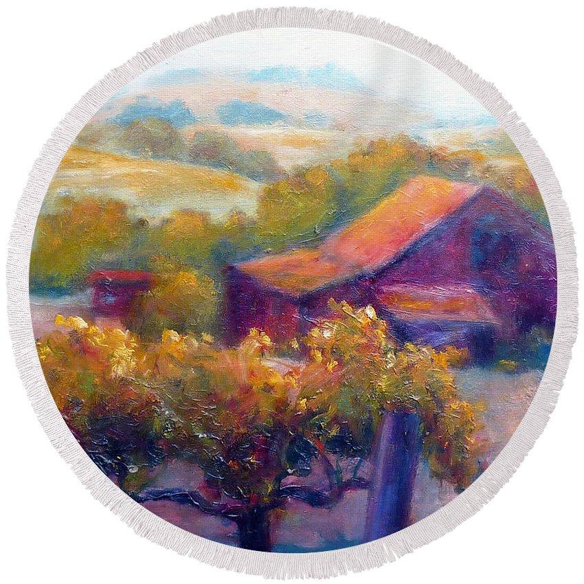 Barn Vineyard Round Beach Towel featuring the painting Barn Vineyard by Carolyn Jarvis