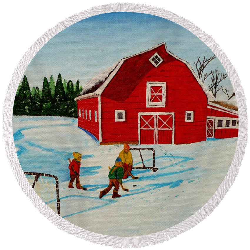 Hockey Round Beach Towel featuring the painting Barn Yard Hockey by Anthony Dunphy