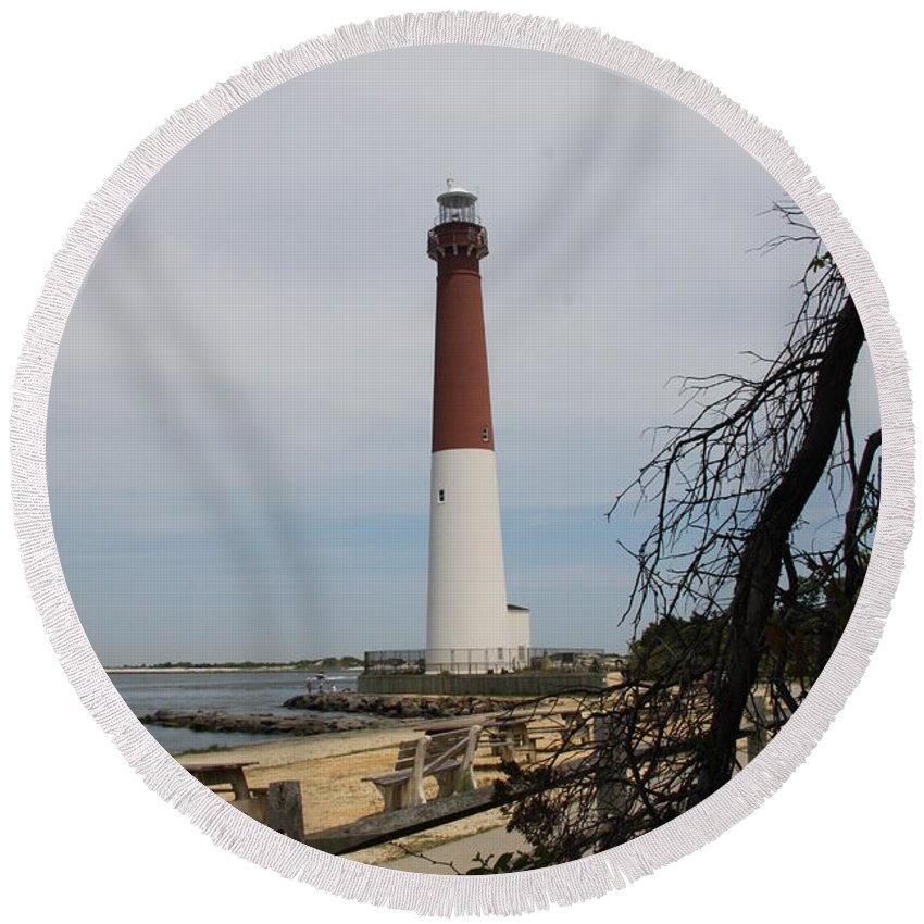 Lighthouse Round Beach Towel featuring the photograph Barnegat Light by Christiane Schulze Art And Photography