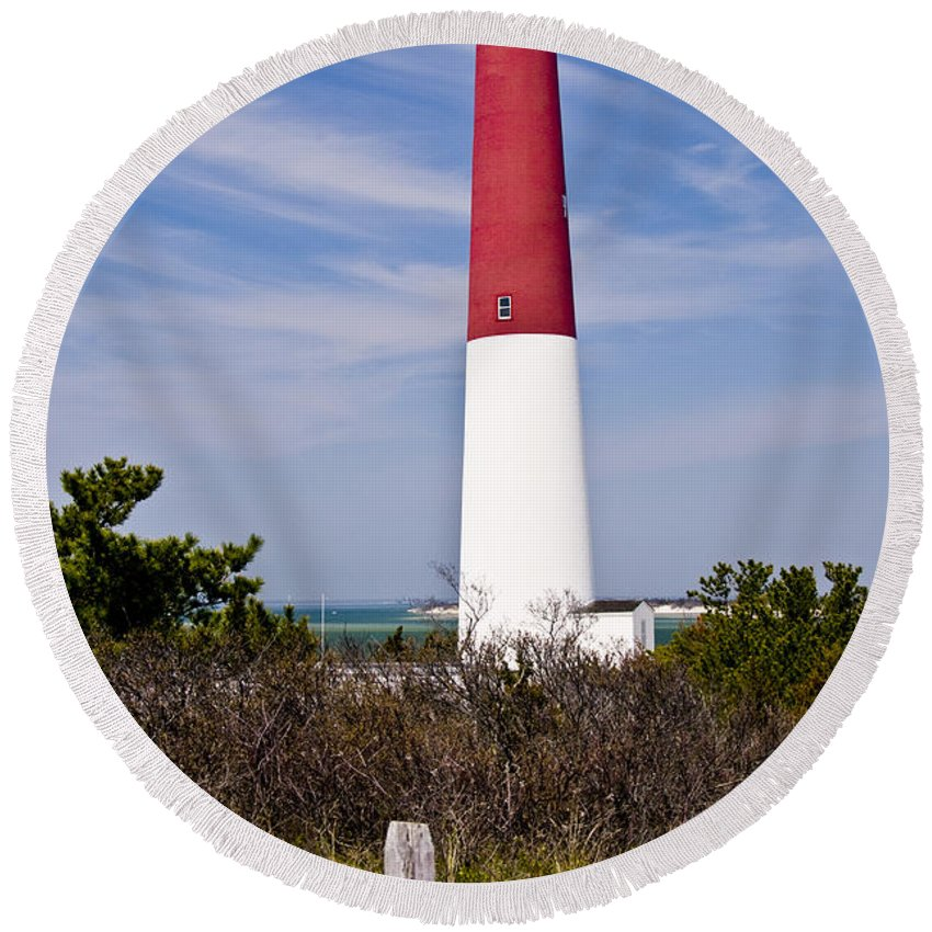 Nautical Round Beach Towel featuring the photograph Barnegat Lighthouse by Anthony Sacco