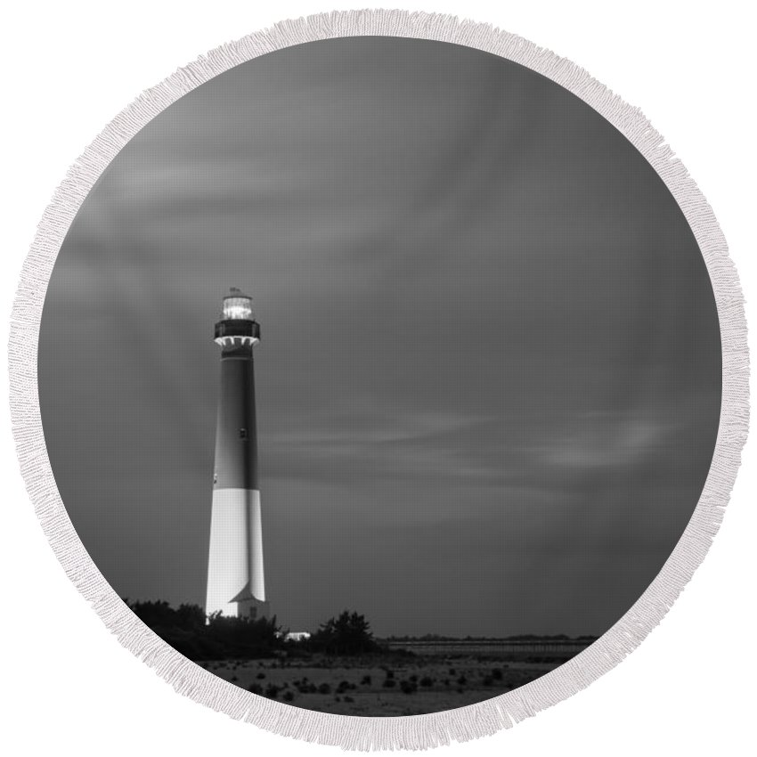 Barnegat Round Beach Towel featuring the photograph Barnegat Lighthouse Black And White by Michael Ver Sprill