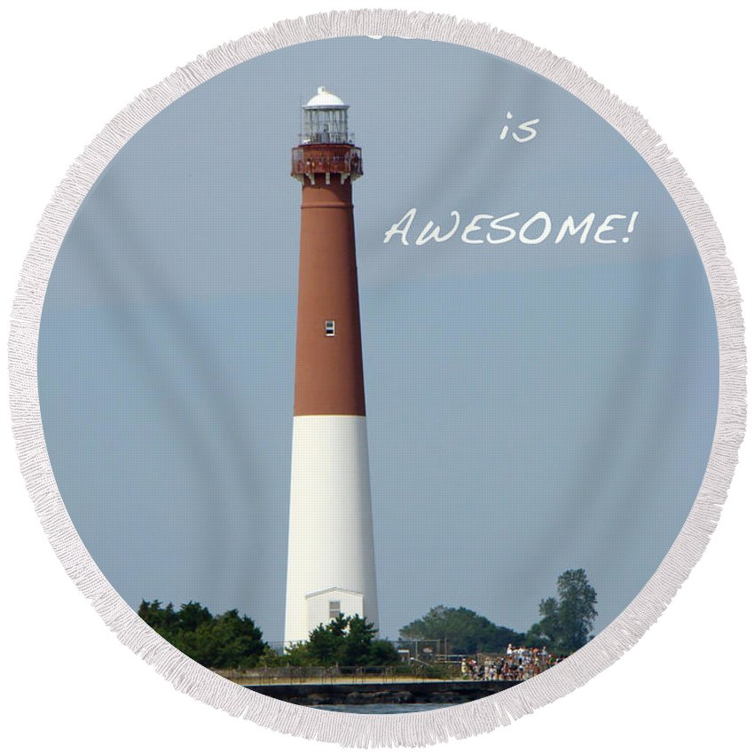 new Jersey Round Beach Towel featuring the photograph Barnegat Lighthouse Nj - Old Barney by Mother Nature