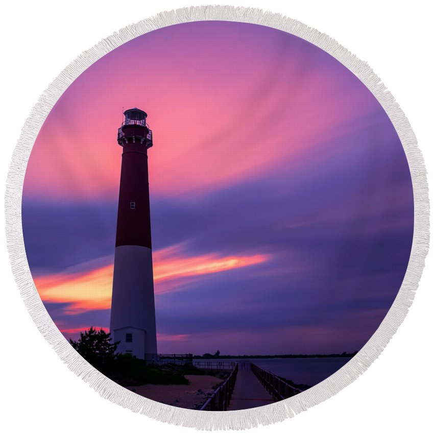 Le Round Beach Towel featuring the photograph Barnegat Sunset Le by Michael Ver Sprill