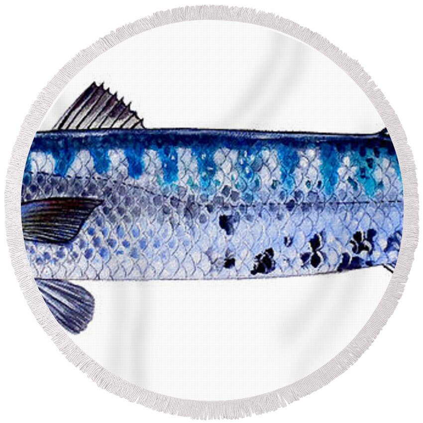 Barracuda Round Beach Towel featuring the painting Barracuda by Carey Chen