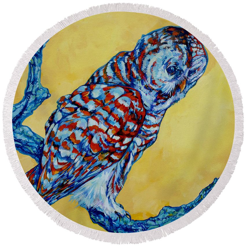 Owl Round Beach Towel featuring the painting Barred Owl by Derrick Higgins