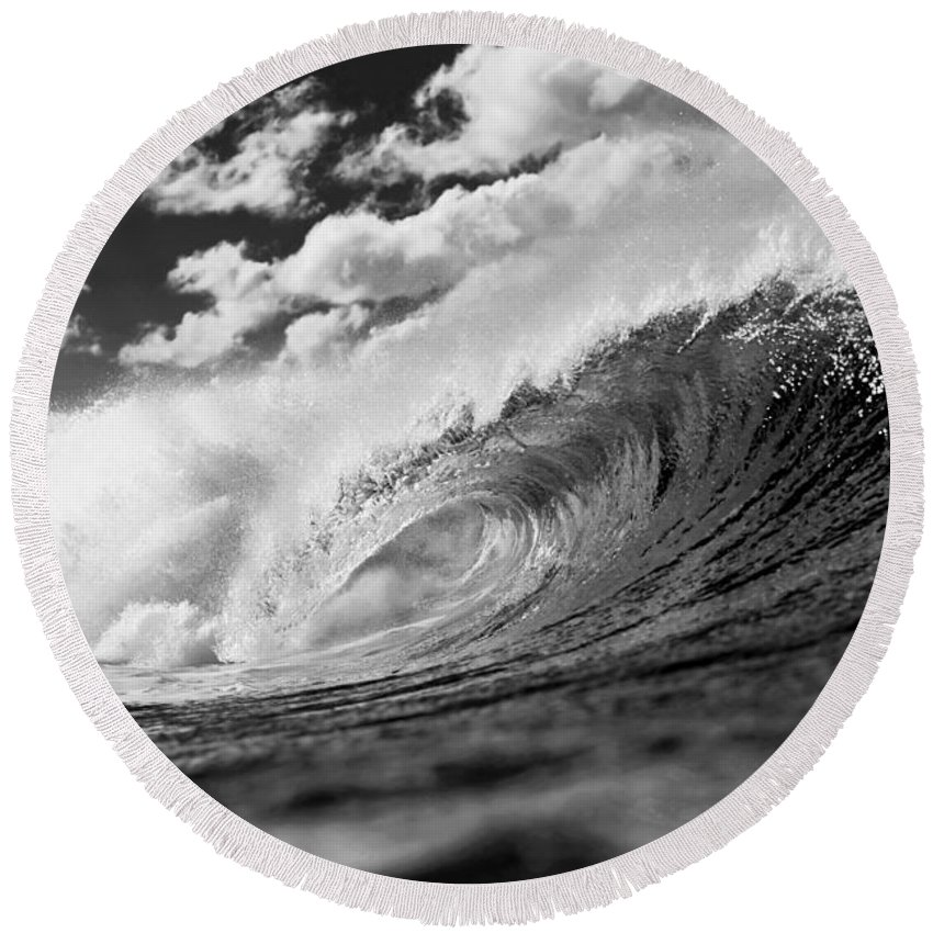 Ocean Energy Round Beach Towel featuring the photograph Barrel Clouds by Sean Davey