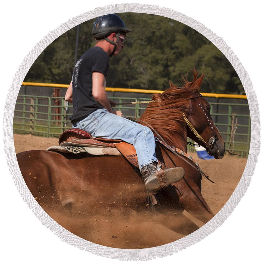 America Round Beach Towel featuring the photograph Barrel Racing by Jack R Perry
