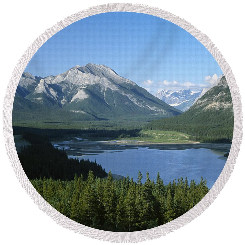 Alberta Round Beach Towel featuring the photograph Barrier Lake by Roderick Bley
